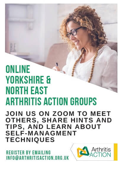 Poster advertising online Yorkshire and North Easr arthritis action group. It has their logo on and a picture of a lady looking at a computer screen smiling.