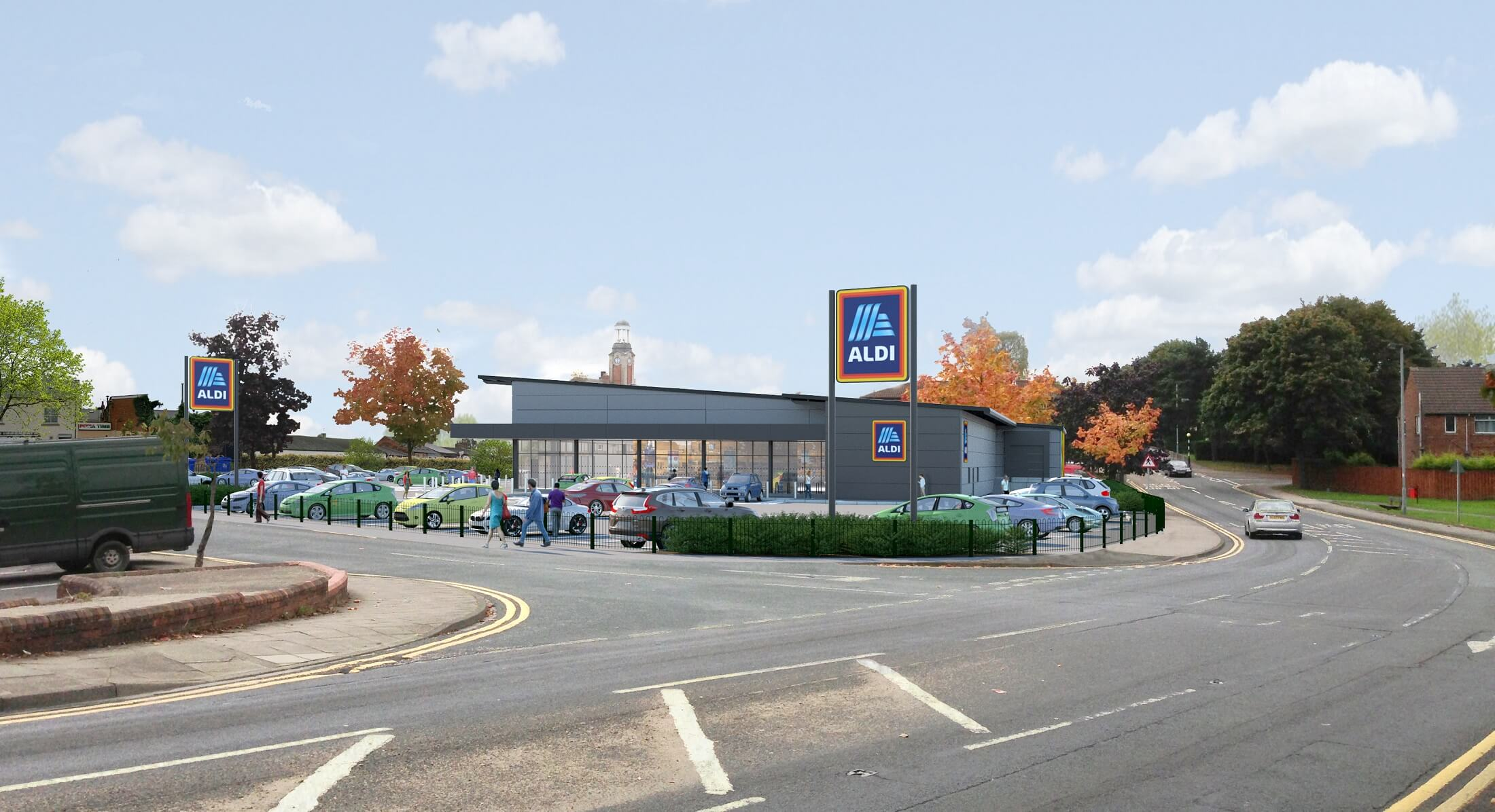 Image of how the new aldi store will look. It is the view from Oxford road and includes the new look store and car park.