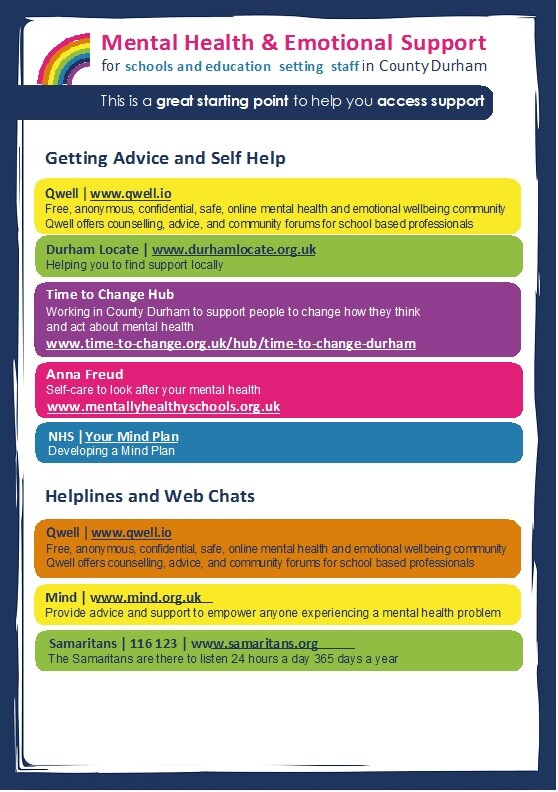 Leaflet signposting to various help and advice for mental health and emotional support